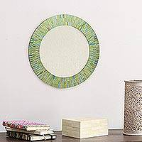 Glass mosaic wall mirror, 'Aqua Fantasy' - Unique Indian Mosaic Glass and Wood Mirror