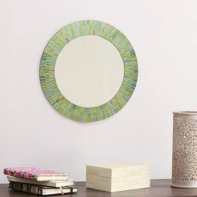 Glass mosaic wall mirror, 'Aqua Fantasy' - Hand Made Mosaic Wood Glass Mirror