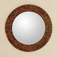 Glass mosaic wall mirror, 'Round Mumbai Maze' - Handcrafted Geometric Wooden Mirror