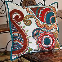 Applique cushion cover, 'Paisley Garden' - Unique Floral Machine Embroidered Cushion Cover