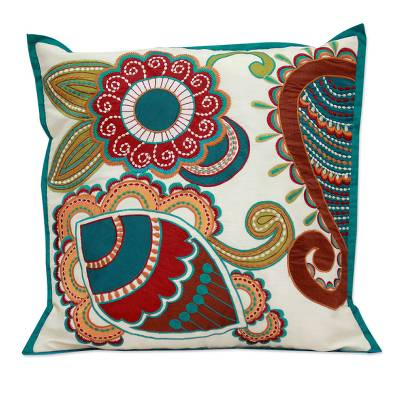 Applique cushion cover, 'Paisley Garden' - Hand Made Floral Patterned Cushion Cover