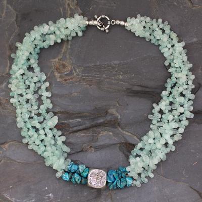 Aquamarine beaded necklace, 'Andaman Shore' - Aquamarine beaded necklace
