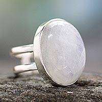 Rainbow moonstone cocktail ring, 'Radiant Light' - Unique Sterling Silver and Rainbow Moonstone Cocktail Ring