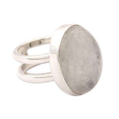 Rainbow Moonstone Cocktail Ring Artisan Silver Jewelry