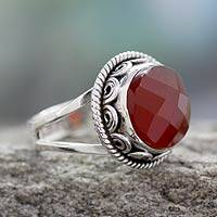 Carnelian cocktail ring, 'Passionate Kiss' - Fair Trade Jewelry Sterling Silver Ring with Carnelian