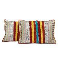 Embroidered cushion covers, 'Holi Joy' (pair) - Embroidered cushion covers (Pair)