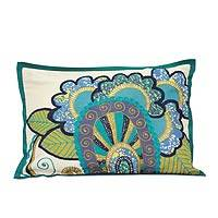 Applique cushion cover, 'Cool Blooms' - Applique cushion cover