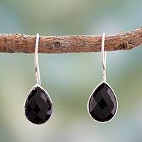Onyx drop earrings, 'Fascinate' - Onyx drop earrings