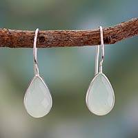 Chalcedony drop earrings, 'Fascinate in Aqua'