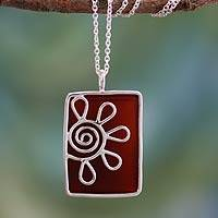 Onyx pendant necklace, 'Crimson Blossom'