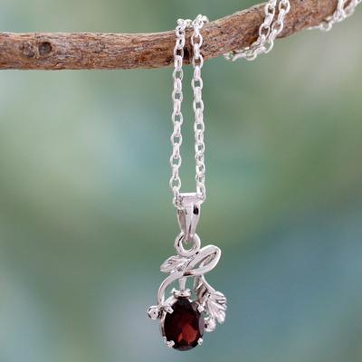 Garnet floral necklace, 'Hindu Melody' - Garnet floral necklace