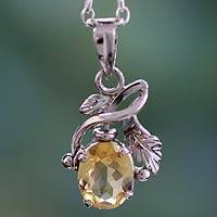 Citrine floral necklace, 'Hindu Melody' - Citrine floral necklace