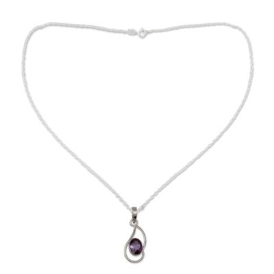 Amethyst pendant necklace, 'Hindu Sonnet' - Amethyst pendant necklace