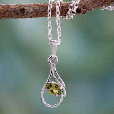 Peridot pendant necklace, 'Nouveau Hindu' - Peridot pendant necklace