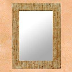 Mirror, 'Nature's Delight' - Artisan Crafted Bone Mosaic Mirror