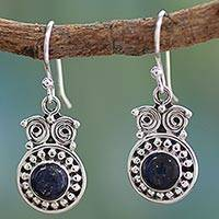 Lapis lazuli dangle earrings, 'Intuitive Owl'