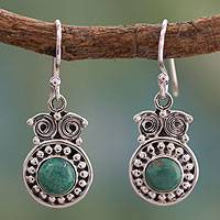 Turquoise dangle earrings, 'Intuitive Owl' - Hand Made Sterling Silver and Natural Turquoise Earrings