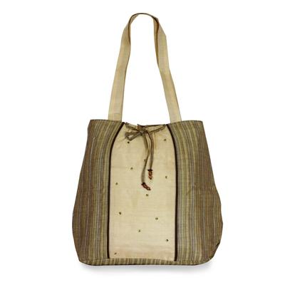 Silk shoulder bag, 'Assam Luxury' - Silk shoulder bag