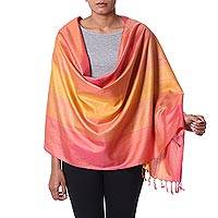 Silk shawl, 'Radiant'