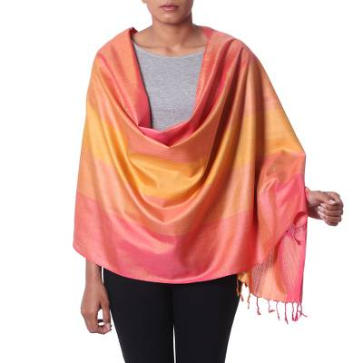 Silk shawl, 'Radiant' - Silk Striped Pink and Multicolor Shawl