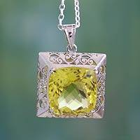 Lemon quartz pendant necklace, 'Golden Majesty' - Sterling Silver and Lemon Quartz Pendant Necklace