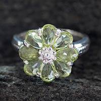 Peridot flower ring, 'Joyous Blossom' - Floral Sterling Silver and Peridot Cocktail Ring