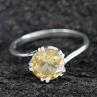 Citrine solitaire ring, 'Delhi Crown' - Handcrafted Sterling Silver Solitaire Citrine Ring