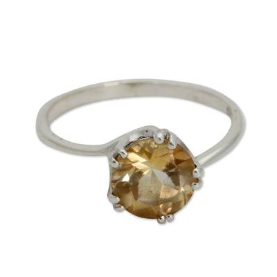 Handcrafted Sterling Silver Solitaire Citrine Ring