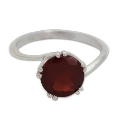 Sterling Silver and Garnet Solitaire Ring