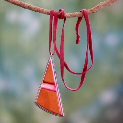 Indian elm wood pendant necklace, 'Modernity' - Wood and Leather Necklace Handcrafted Modern jewellery
