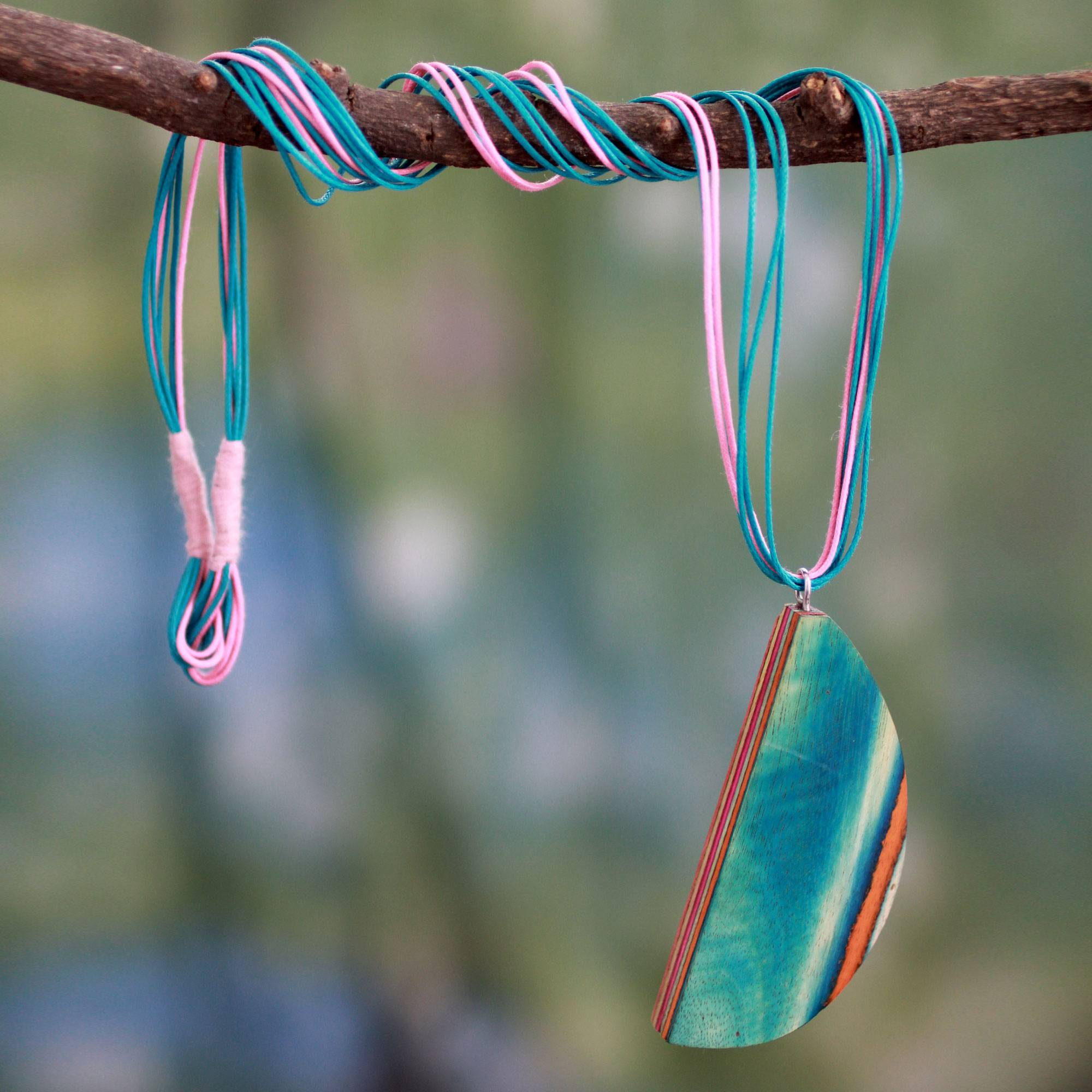 Indian elm wood pendant necklace, 'Delhi Fantasy' The Perfect Necklace