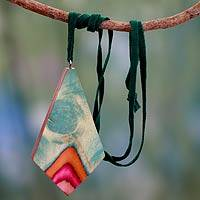 Leather and Indian elm wood pendant necklace, 'Splashing Holi' - Wood and Leather Necklace colourful jewellery from India