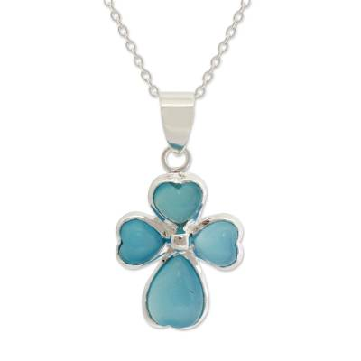 Indian Cross Sterling Silver and Chalcedony Necklace