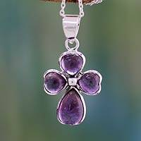 Amethyst cross necklace, 'Heartfelt' - Heart Shaped Cross Sterling Silver and Amethyst Necklace