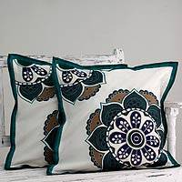 Applique cushion cover, 'Teal Bouquet' (pair) - Hand Made Floral Patterned Cushion Covers (Pair)