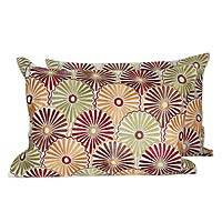 Embroidered cushion covers, 'Sunflower Delight' (pair) - Floral Embroidered Cushion Covers (Pair)