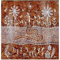 Warli painting, 'Victory Over Evil' - Hindu-Themed Warli Painting from India