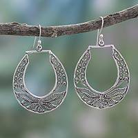 Sterling silver dangle earrings, 'Renewal' - Artisan Crafted Sterling Silver Earrings from India