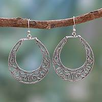 Sterling silver dangle earrings, 'Fern Labyrinth' - Artisan Crafted India Silver Jali Earrings