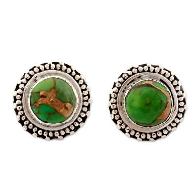 Sterling Silver Button Earrings India Modern Jewelry