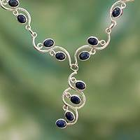 Lapis lazuli Y necklace, 'Lotus Buds' - Handmade Sterling Silver Y Necklace with Lapis Lazuli