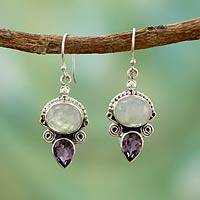 Rainbow moonstone and amethyst dangle earrings, 'Regal Allure' - Sterling Silver Amethyst and Rainbow Moonstone Earrings