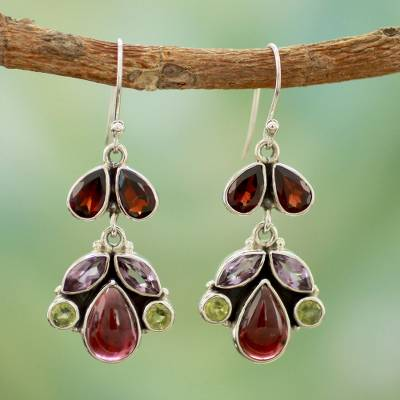 Garnet and amethyst dangle earrings, 'Elegance' - Garnet and amethyst dangle earrings