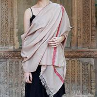 Wool shawl, 'Sand Garden' - Woven Wool Shawl Embroidered Wrap