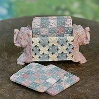 Soapstone coaster set, 'Elephant Patchwork' (set for 6) - Soapstone coaster set (Set for 6)