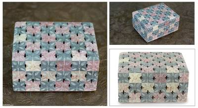 Soapstone box, 'Floral Patchwork' - Jali Natural Soapstone Decorative Box