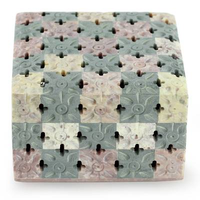 Soapstone box, 'Bed of Flowers' - Artisan Crafted Natural Soapstone Decorative Box