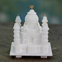 Marble sculpture, 'Taj Mahal' (small) - The Taj Mahal Sculpted in White Marble