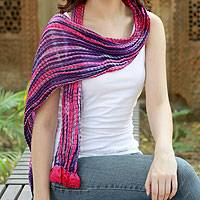 Beaded crinkle silk scarf, 'Amethyst Glory' - Beaded crinkle silk scarf