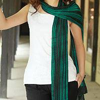 Beaded crinkle silk scarf, 'Emeralds'